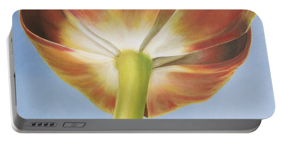 Flower Portable Battery Charger featuring the painting Tulip by Rob De Vries