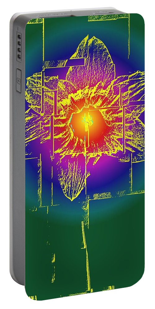 Tulip Portable Battery Charger featuring the digital art Tulip by Tim Allen