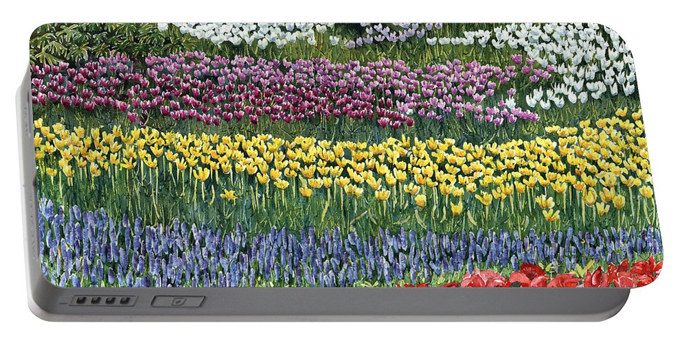 Flowers Portable Battery Charger featuring the painting Tulip Tme by Karen Wright