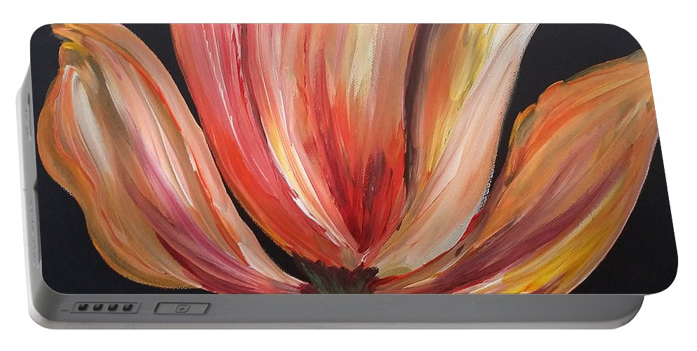 Tulip Portable Battery Charger featuring the painting Tulip by Tracy Ann Delfar