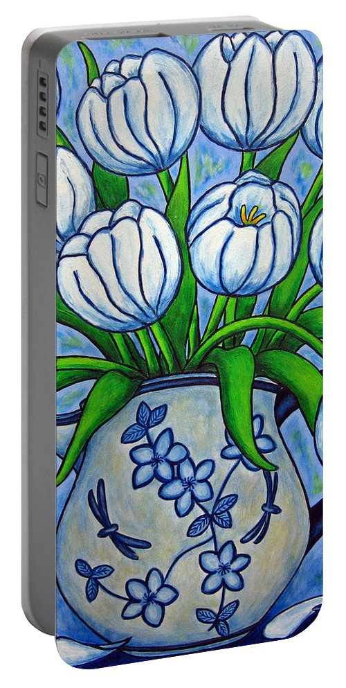 Flower Portable Battery Charger featuring the painting Tulip Tranquility by Lisa Lorenz