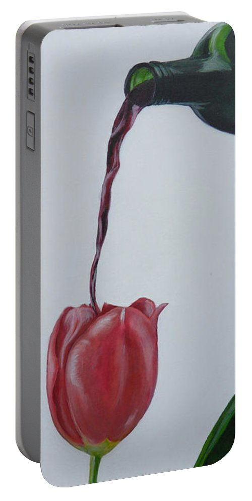 Tulip Portable Battery Charger featuring the painting Tulip by Travis Day