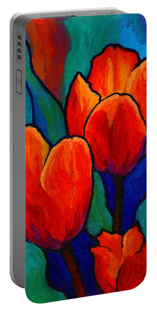 Floral Portable Battery Charger featuring the painting Tulip Trio by Marion Rose