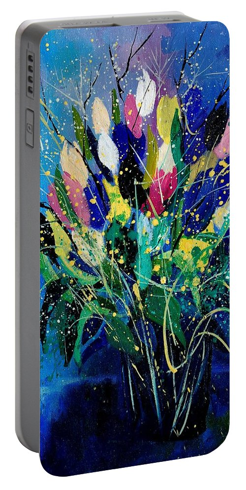 Flowers Portable Battery Charger featuring the painting Tulips 45 by Pol Ledent