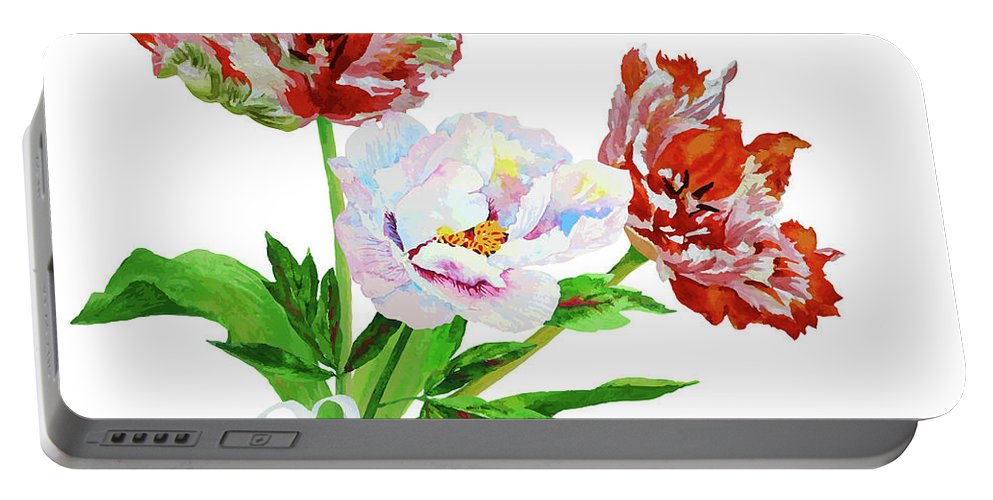 Bouquet Portable Battery Charger featuring the digital art Tulips And Pink White Peony by Natalia Piacheva