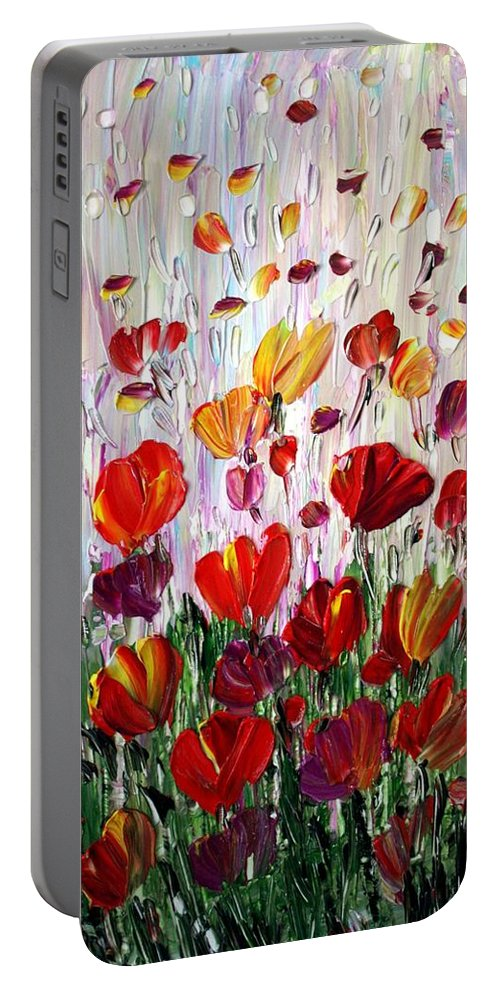 Flowers Portable Battery Charger featuring the painting Tulips Flowers Garden Seria by Luiza Vizoli
