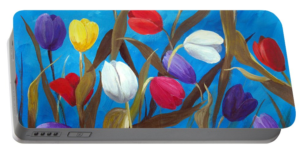 Tulips Portable Battery Charger featuring the painting Tulips Galore II by Ruth Palmer