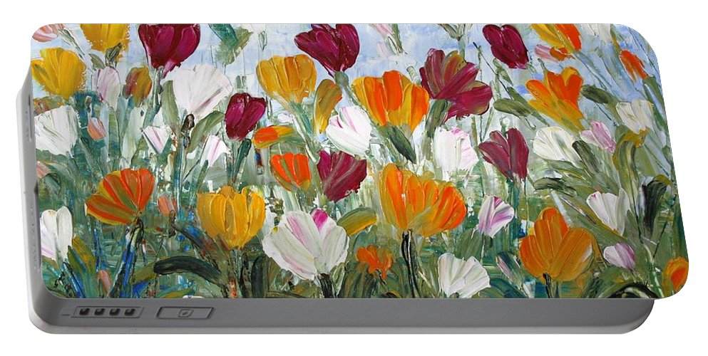 Oil Portable Battery Charger featuring the painting Tulips Garden by Luiza Vizoli