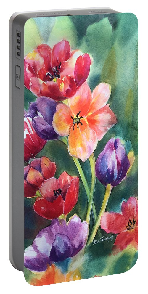 Tulips Portable Battery Charger featuring the painting Tulips by Hilda Vandergriff