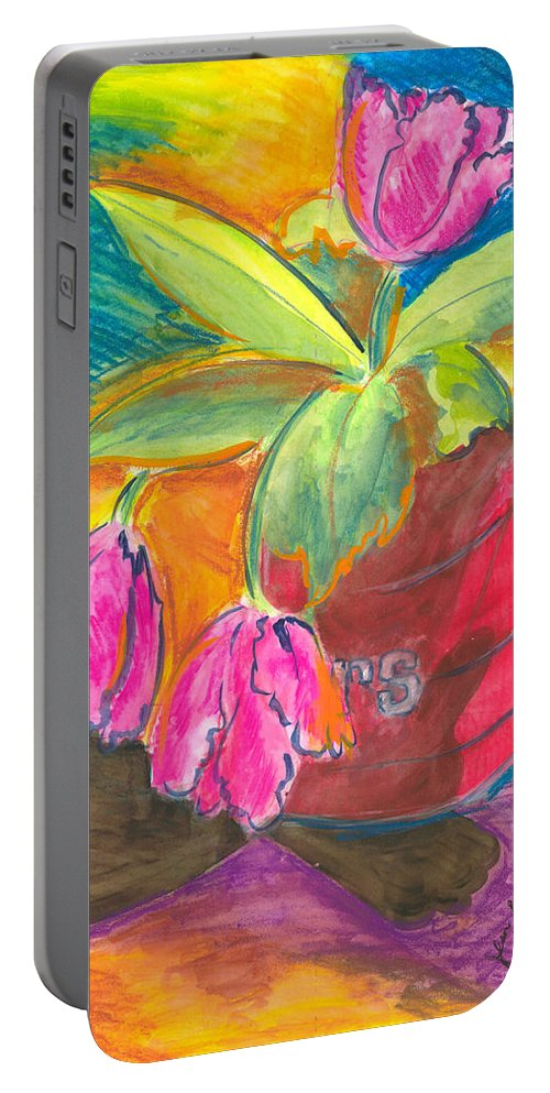 Flowers Portable Battery Charger featuring the painting Tulips In Can by Jean Blackmer