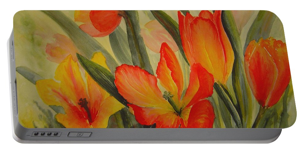 Spring Tulips Portable Battery Charger featuring the painting Tulips by Joanne Smoley