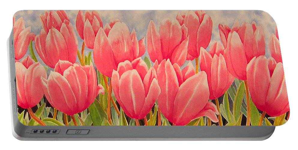 Floral Portable Battery Charger featuring the painting Tulips by Karen Wright