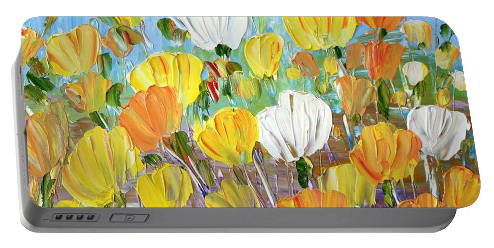 Flowers Portable Battery Charger featuring the painting Tulips by Luiza Vizoli