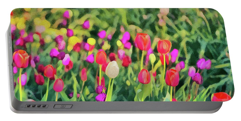 Outdoor Portable Battery Charger featuring the digital art Tulips. Monet Style Digital Painting. by Michael Goyberg