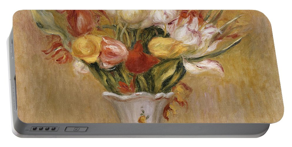 Impressionist; Impressionism; Still Life; Flower; Vase Portable Battery Charger featuring the painting Tulips by Pierre Auguste Renoir