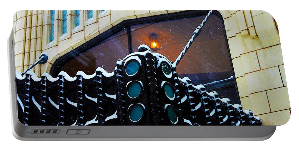 Art Deco Portable Battery Charger featuring the photograph Tulsa Deco In The Snow by Susan Vineyard