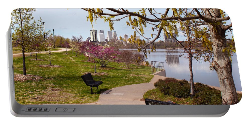 Tulsa Portable Battery Charger featuring the digital art Tulsa From The Pedestrian Bridge by Susan Vineyard