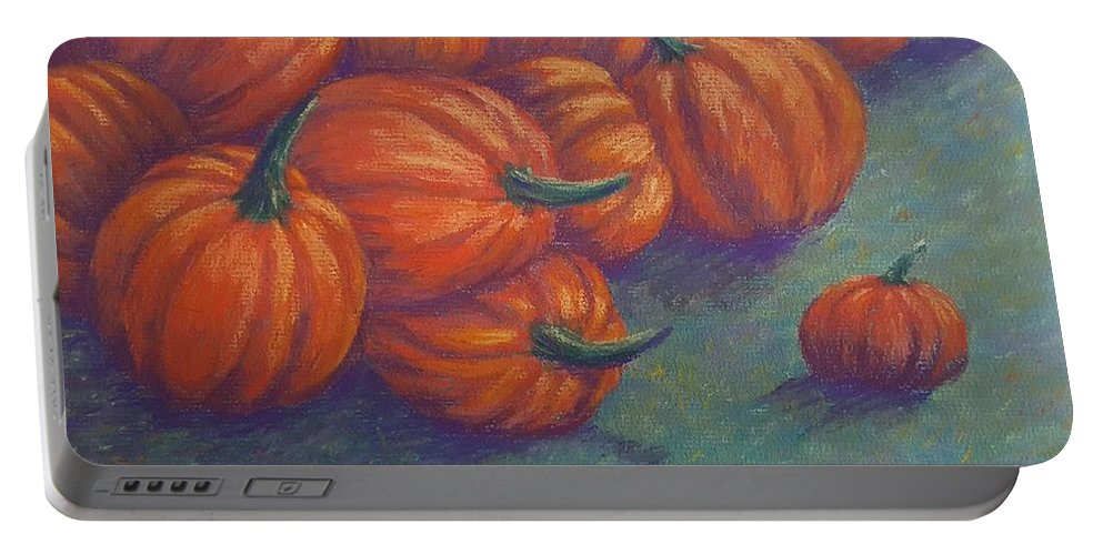 Pumpkin Portable Battery Charger featuring the pastel Tumbled Pumpkins by Joann Renner