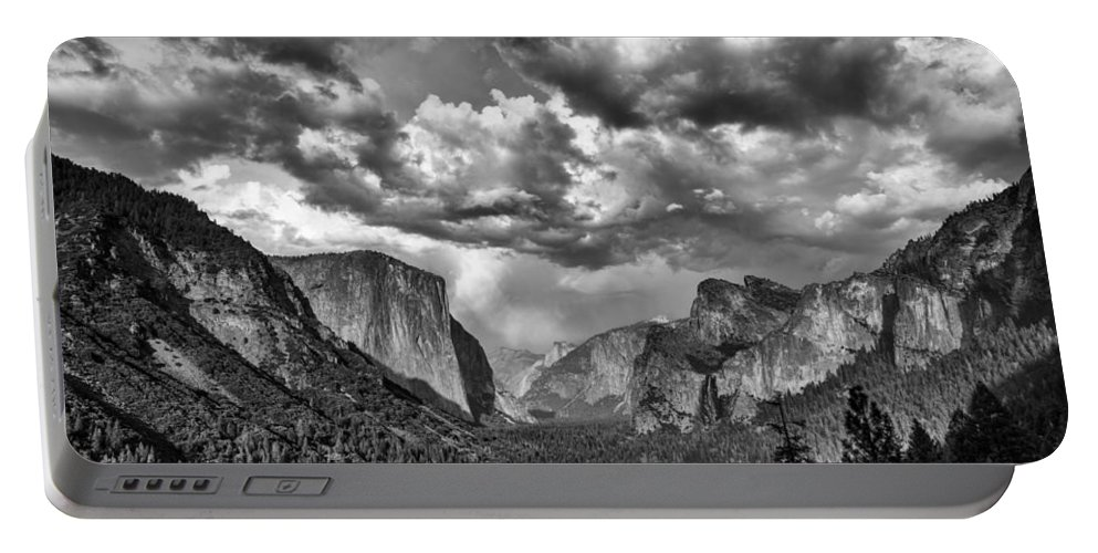 Tunnel View Portable Battery Charger featuring the photograph Tunnel View In Black And White by Rick Berk