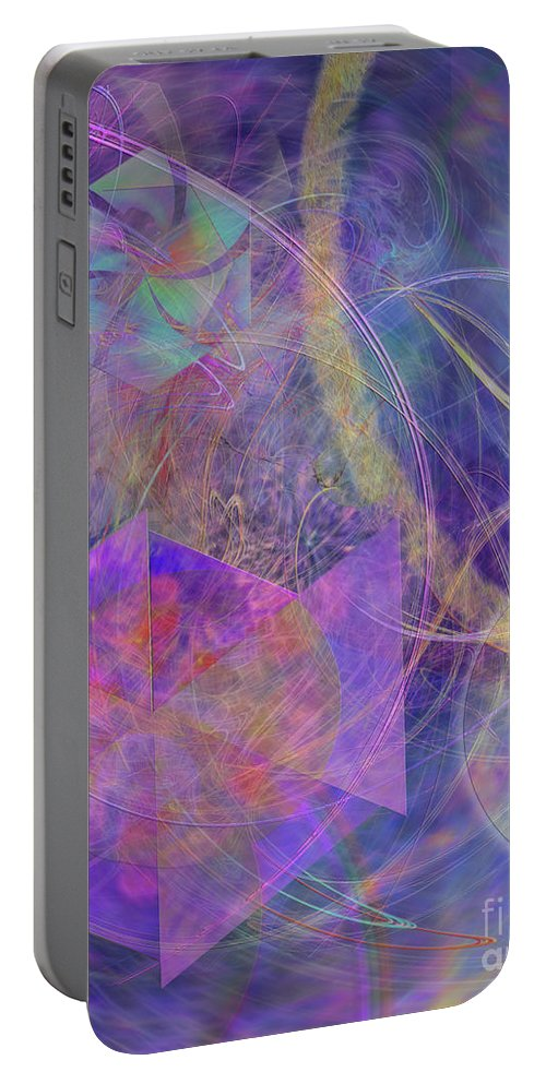 Turbo Blue Portable Battery Charger featuring the digital art Turbo Blue by John Beck