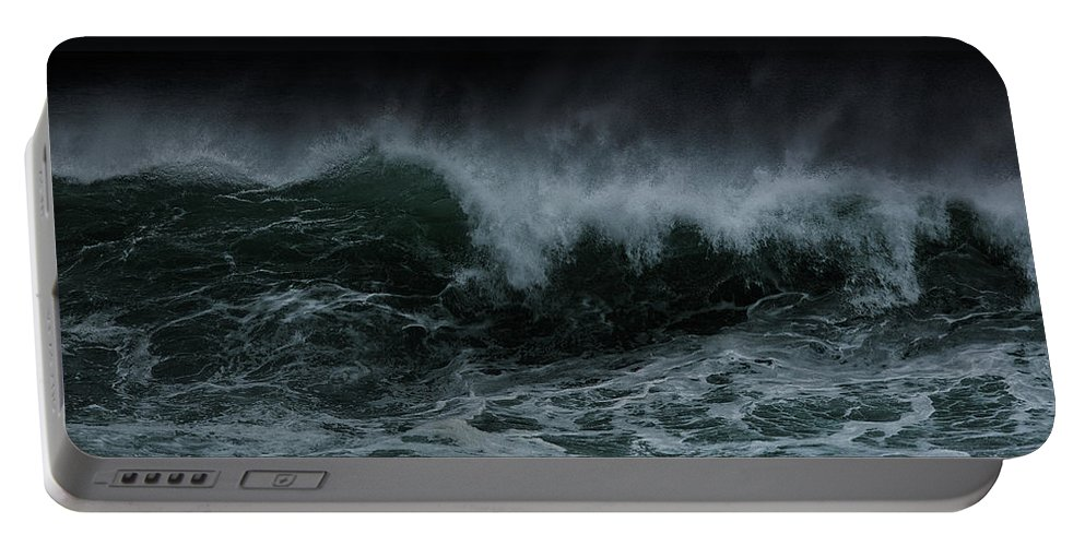 Ocean Portable Battery Charger featuring the photograph Turbulence by Edgar Laureano