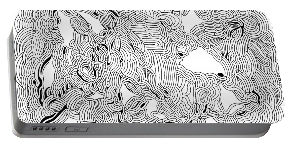 Mazes Portable Battery Charger featuring the drawing Turbulence by Steven Natanson