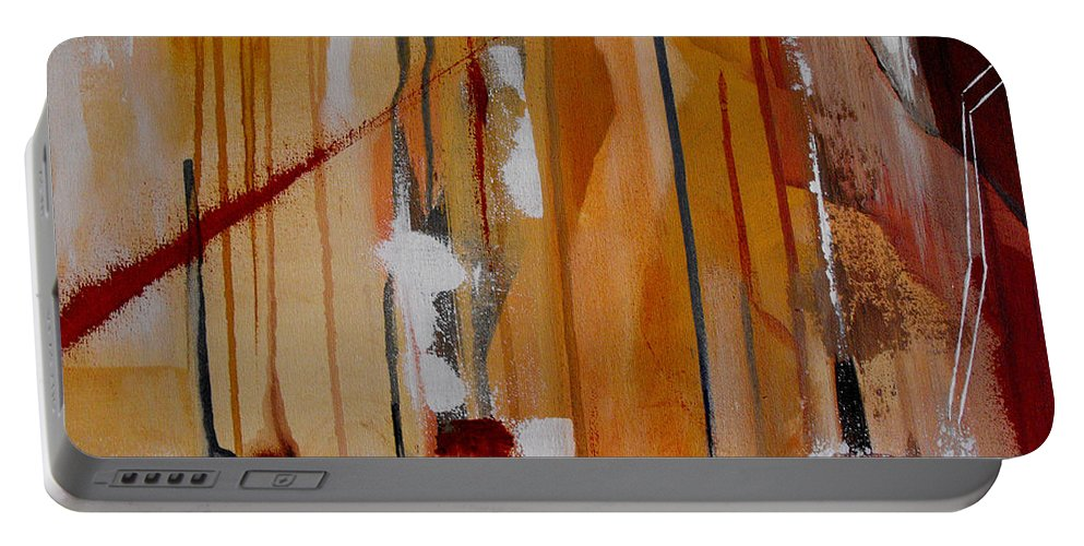 Abstract Portable Battery Charger featuring the painting Turbulent Times by Ruth Palmer