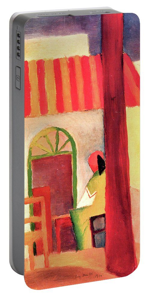Turkish Portable Battery Charger featuring the painting Turkish Cafe By August Macke by August Macke