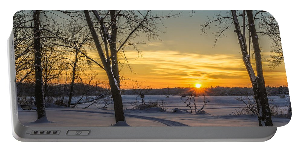 Landscape Portable Battery Charger featuring the photograph Turn Left At The Sunset by Randy Scherkenbach