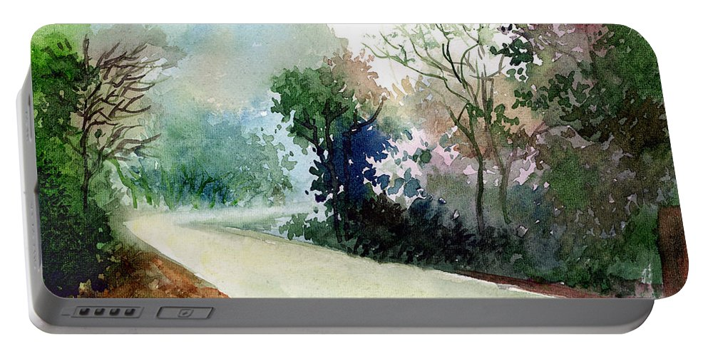 Landscape Water Color Nature Greenery Light Pathway Portable Battery Charger featuring the painting Turn Right by Anil Nene