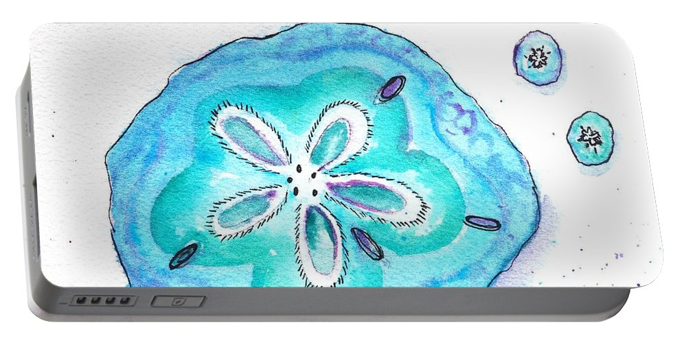 Sand Dollar Portable Battery Charger featuring the painting Turquoise Blue Sand Dollar Shells by Carlin Blahnik CarlinArtWatercolor
