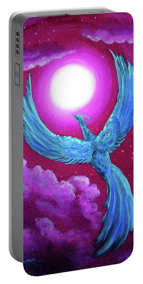 Violet Portable Battery Charger featuring the painting Turquoise Moon Phoenix by Laura Iverson