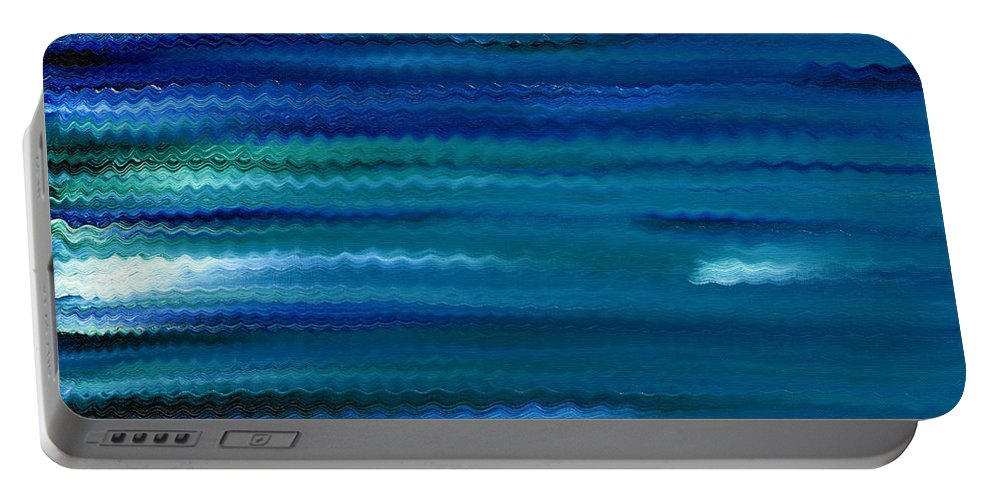 Abstract Portable Battery Charger featuring the painting Turquoise Waves by Hakon Soreide