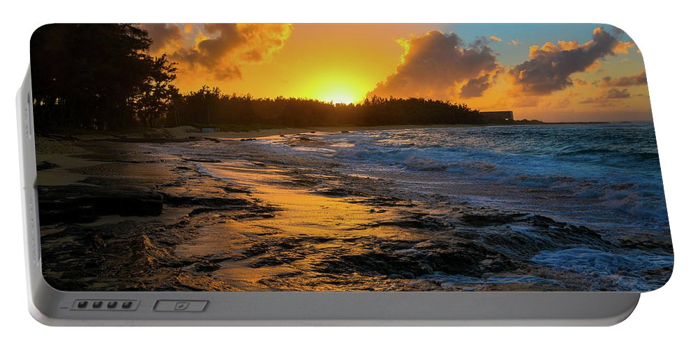 Hawaii Portable Battery Charger featuring the photograph Turtle Bay Hawaii Sunset by Jason Brooks