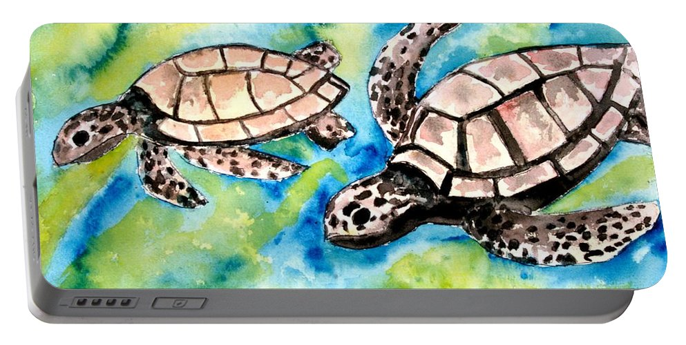 Love Portable Battery Charger featuring the painting Turtle Love Pair Of Sea Turtles by Derek Mccrea