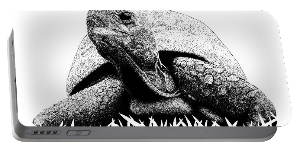 Pen Portable Battery Charger featuring the drawing Turtle by Scott Woyak