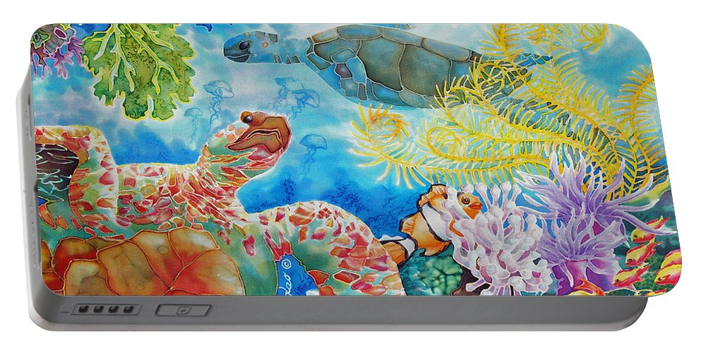 Fish Portable Battery Charger featuring the painting Turtle Territory by Deborah Younglao