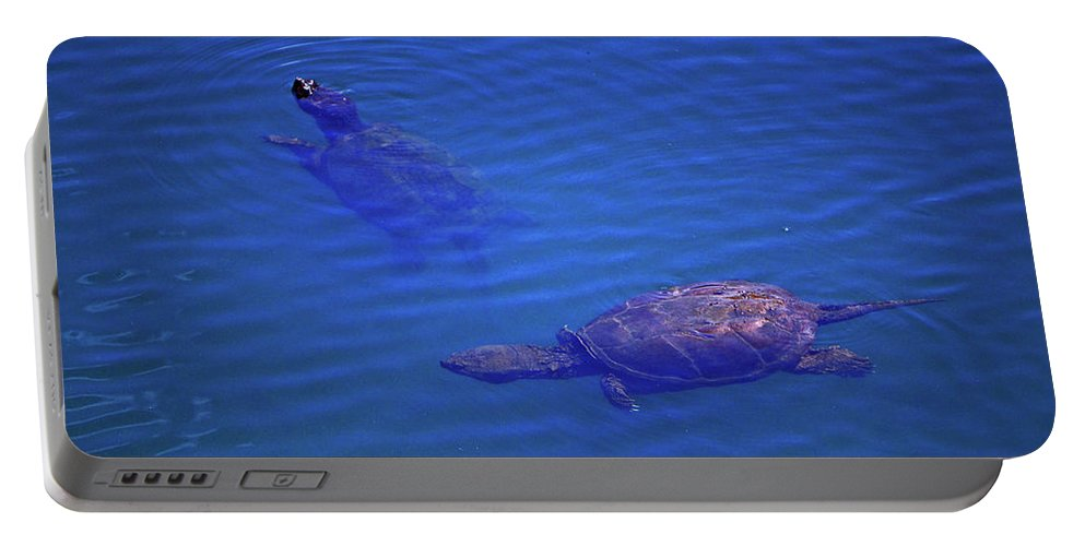 Nature Portable Battery Charger featuring the photograph Turtles At The Lily Pond 001 by George Bostian