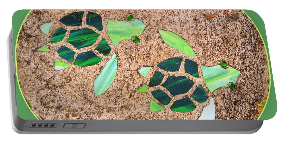 Turtles Portable Battery Charger featuring the photograph Turtles by Linda Covino