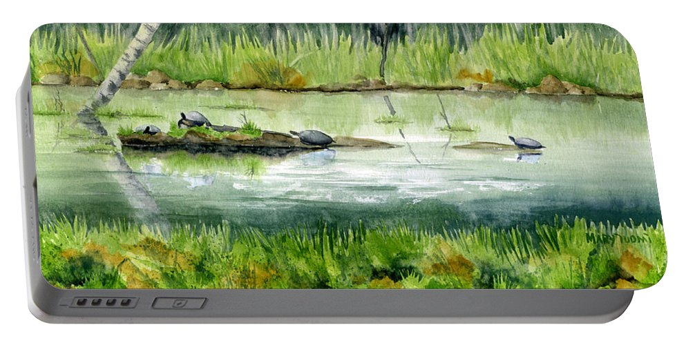 Turtle Portable Battery Charger featuring the painting Turtles by Mary Tuomi