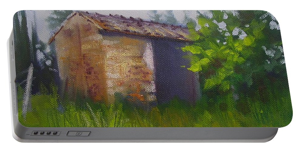 Rural Painting Portable Battery Charger featuring the painting Tuscan Abandoned Farm Shed by Chris Hobel
