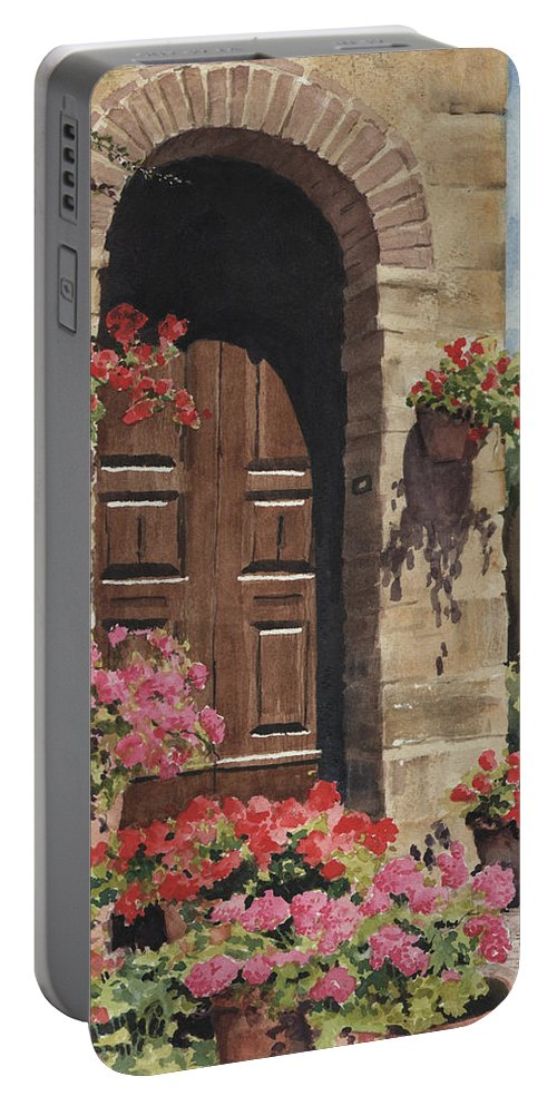 Flowers Portable Battery Charger featuring the painting Tuscan Door by Sam Sidders