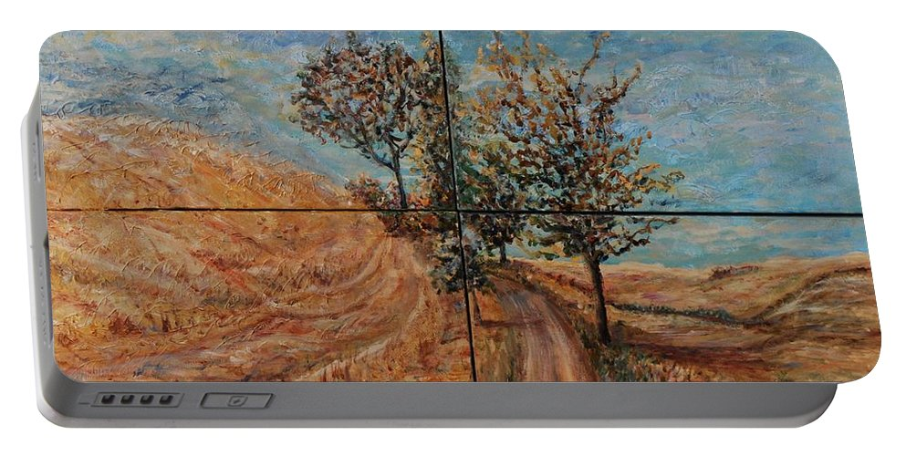 Landscape Portable Battery Charger featuring the painting Tuscan Journey by Nadine Rippelmeyer