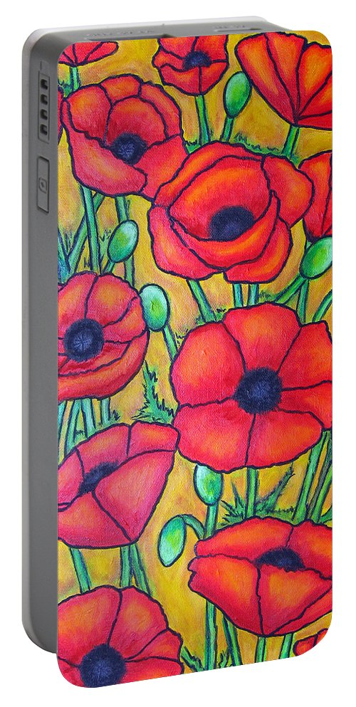Poppies Portable Battery Charger featuring the painting Tuscan Poppies - Crop 1 by Lisa Lorenz