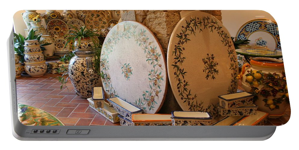 Pottery Portable Battery Charger featuring the photograph Tuscan Pottery by Christiane Schulze Art And Photography
