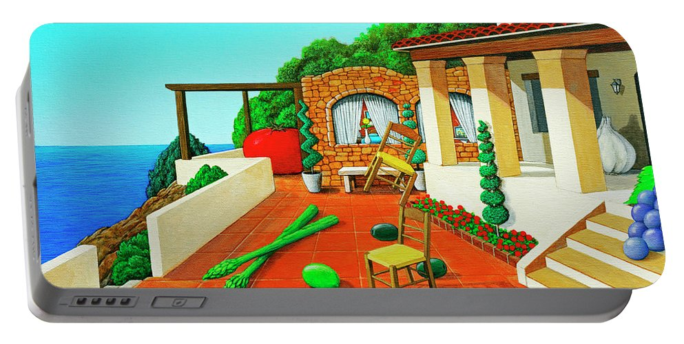 Tuscan Portable Battery Charger featuring the painting Tuscan Vacation by Snake Jagger