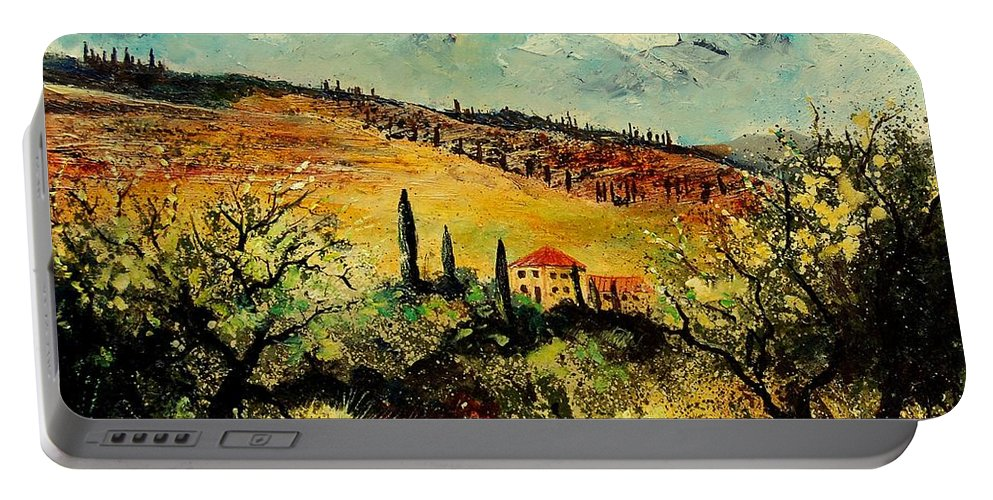 Provence Portable Battery Charger featuring the painting Tuscany 67 by Pol Ledent