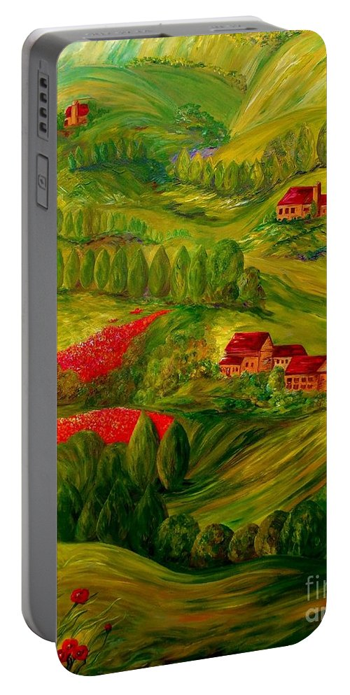 Tuscany Portable Battery Charger featuring the painting Tuscany At Dawn by Eloise Schneider