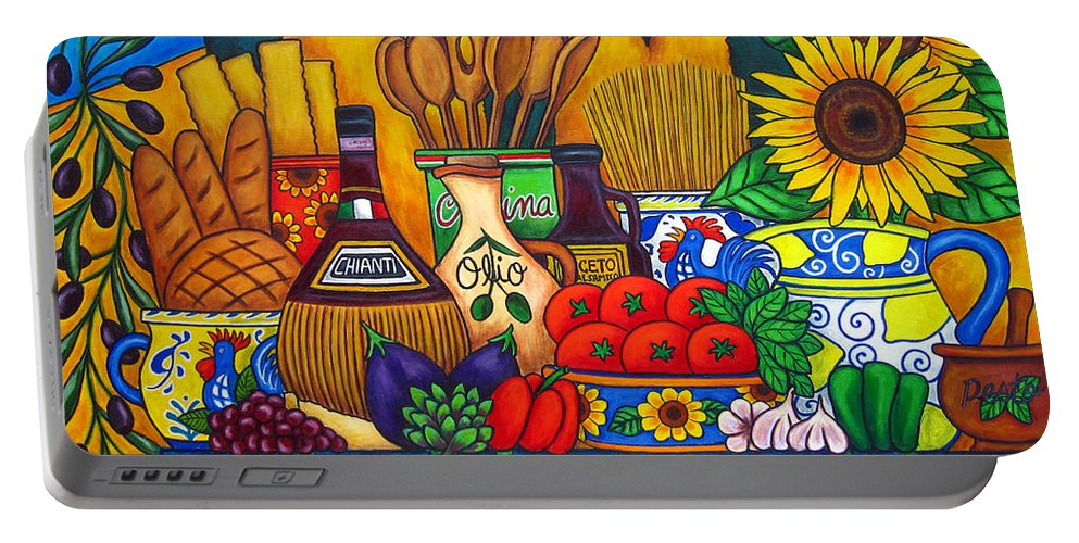 Still Life Portable Battery Charger featuring the painting Tuscany Delights by Lisa Lorenz