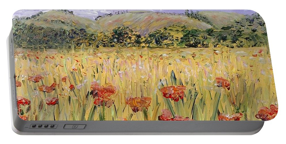 Poppies Portable Battery Charger featuring the painting Tuscany Poppies by Nadine Rippelmeyer